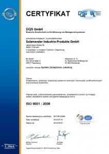 Certyfikat ISO 9001 Salamander