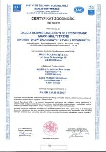 Certyfikat ITB-1354 Maco