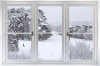 okno zimą